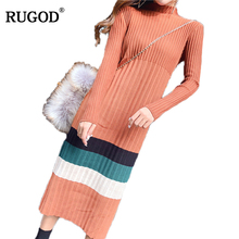 Buy RUGOD Warm Striped Turtleneck Dress Autumn Winter 2017 Mid-calf Straight Women's Casual Sweater Knitted Dress Women Clothing for $21.59 in AliExpress store