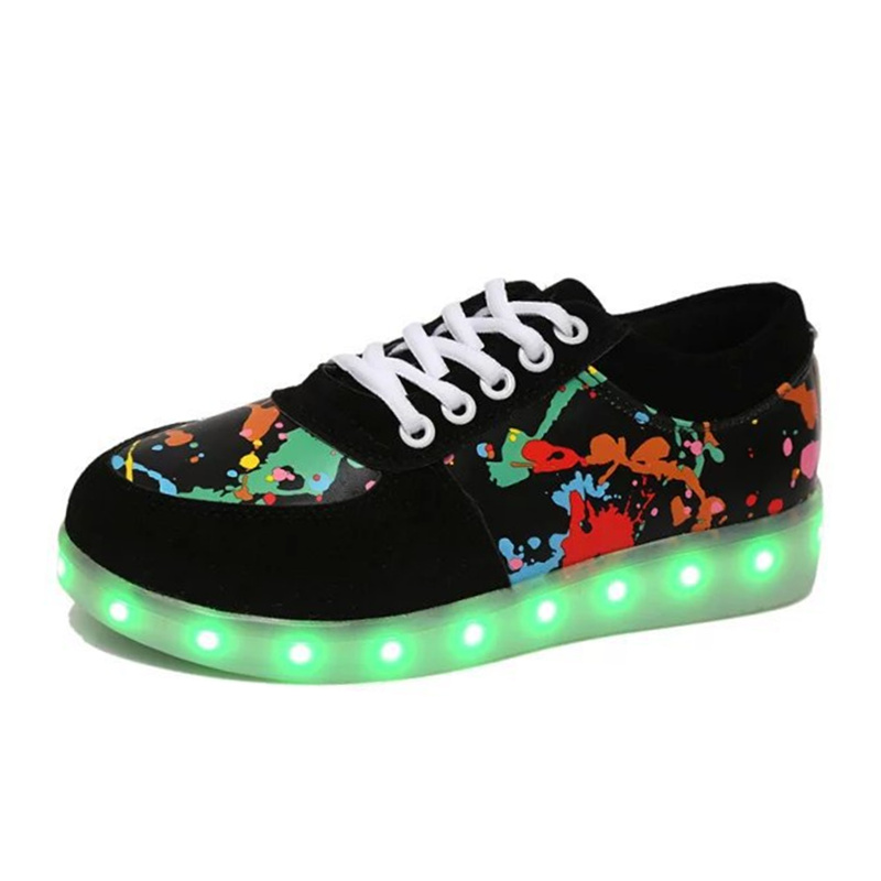 7ipupas Men Unisex Fashion Luminous Led Shoes Graffiti Color LED Lights USB Charging Colorful Shoes Lovers Casual Flash Shoes<br><br>Aliexpress