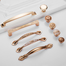 Gold Door Handles Wardrobe Drawer Knobs Kitchen Cabinet Knobs and Handles Fittings for Furniture Handles Hardware Accessories(China)