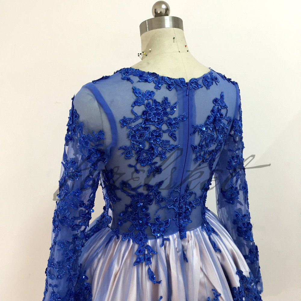 royal blue Ball gown Prom Dresses 2017 knee length Lace long sleeves Formal Evening Gowns for women fluffy dress High quality
