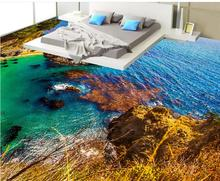 Custom luxury 3d floor painting Seaside scenery wallpaper for walls 3 d vinyl flooring wallpapers for living room