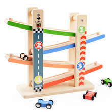 Wooden Urban Road Pattern Ramp Racer Track Kids Inertial Sliding Track Car Playset with 4 Racers(China)