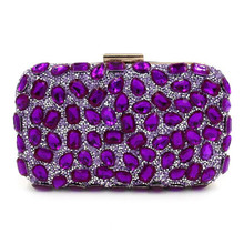 6 Coolors Exquisite Crystal Clutch Bag Royal Blue Evening Bag  Diamond Wedding Party Hand Bag Chain Shoulder Bag Purse Wallet