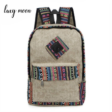 New Female Women Ethnic Brief Canvas Backpack Preppy Style School Lady Girl Student Travel Laptop Bag