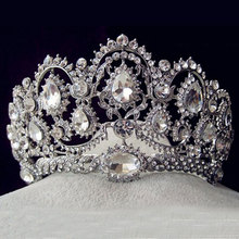 European Vintage Tiaras Silver Bridal Jewelry Quinceanera Rhinestone Crystal Crowns Pageant Wedding Hair Accessories For Brides(China)
