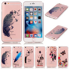 Soft TPU Transparent Feather Case for iPhone 5 5S SE 6 6S 6plus 6splus Cover Cases Cheap Phone Accessory Free Shipping wholesale