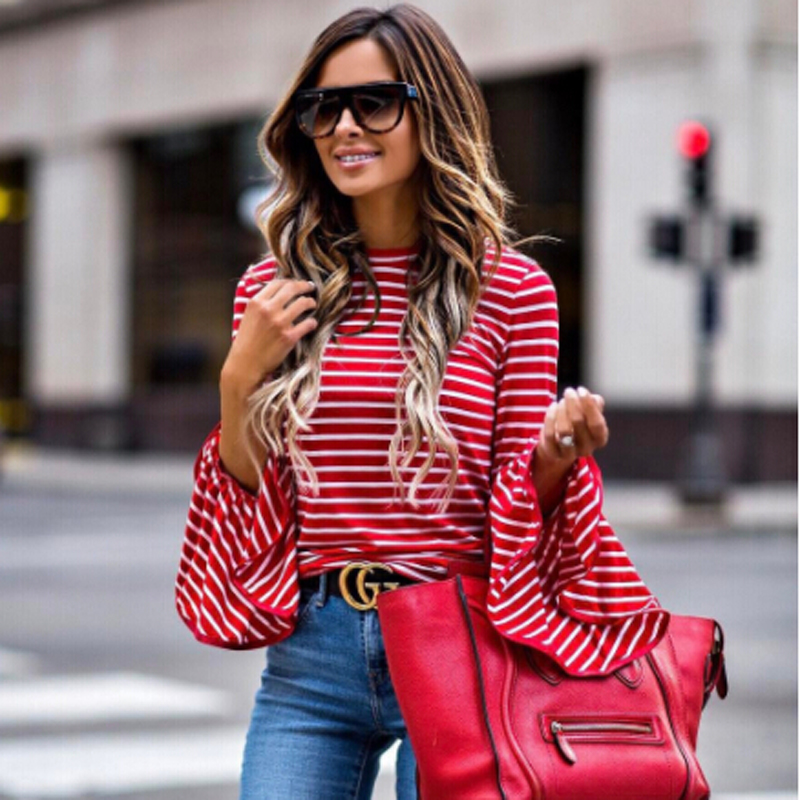 Women Vintage Fashion White And Red Striped Shirt Blouses Cotton Blend Tops Retro Roupas Flare Sleeve Femininas Shirts