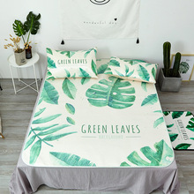 Summer Bedding Pillowcase Sleeping Mat Set Green Leaves Reactive Printing Jacquard Weave Ice Silk Foldable Thick Bedroom Pads(China)