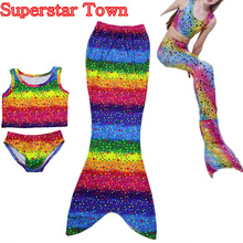 3 UNIDS Chica Kids Mermaid Tail Nadar Bikini Set Bañador Fancy Cosplay Costume 3-8Y