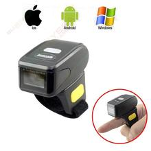 Free shipping!Handheld Mini Bluetooth Wireless Ring Finger Barcode Reader 1D Barcode Scanner For Android IOS Windows(China)