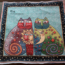 1 piece 50*50cm National moon and cat cushion fabric mat fluid jacquard cloth free shipping(China)
