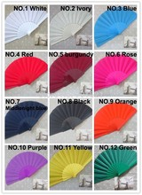 Free Shipping plastic fabric folding hand fan,assorted color, best business gift & wedding favor 50pcs/lot(China)