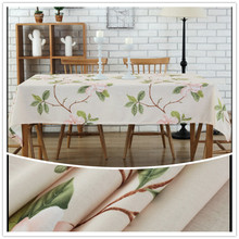 Pink flower tablecloth. Pastoral style printing process table cloth. Polyester and cotton material. A variety of sizes.