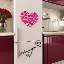 40x40x0.2cm New Style DIY 3D Mirror Acrylic Wall Stickers Love Heart Home Removable Decal Art Decor  For Bedroom Living Room
