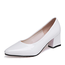 Spring Autumn Woman Wedding Shoes White Pointed Toe Low Heels Pumps Office Dress Shoes Patent Leather Plain Pump CY208