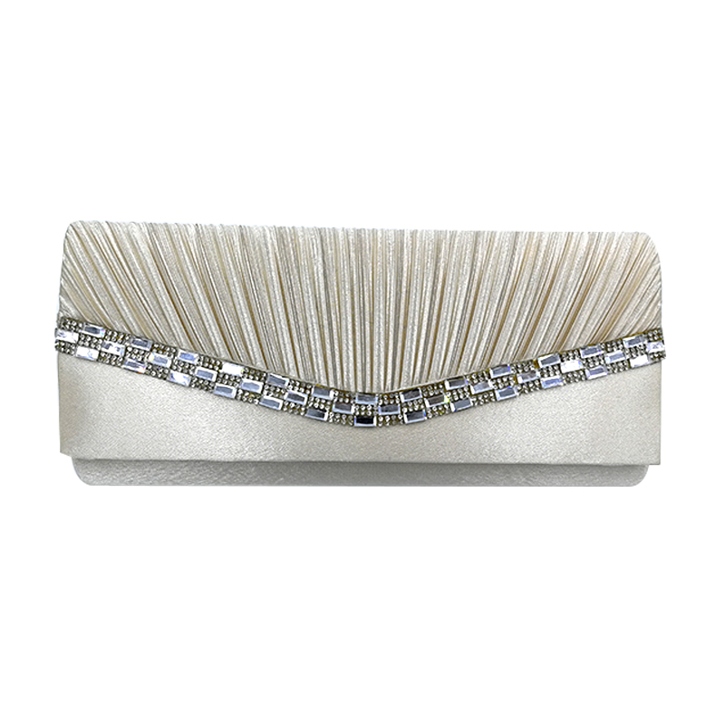 Satin Rhinestone Pleated Women Evening Clutch Bag Ladies Day Clutch Purse Chain Handbag Bridal Wedding Party Bag Bolsa Mujer<br>
