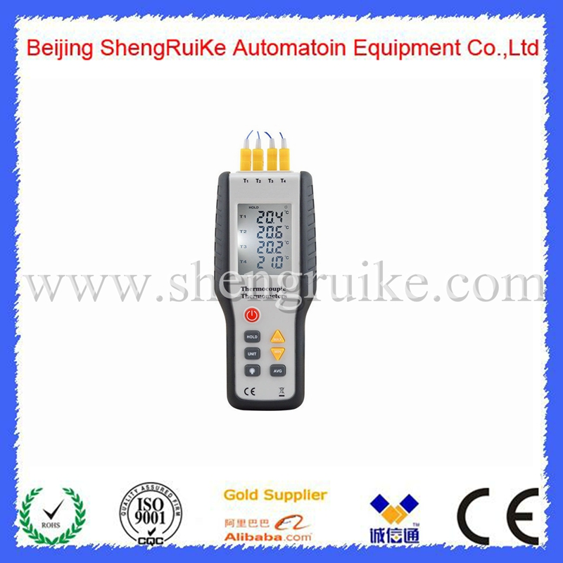 Handheld Digital 4 Channel Thermometer High Precision Temperature Meter K Type Thermocouple Sensor -200~1372Degrees/-328~2501F<br>