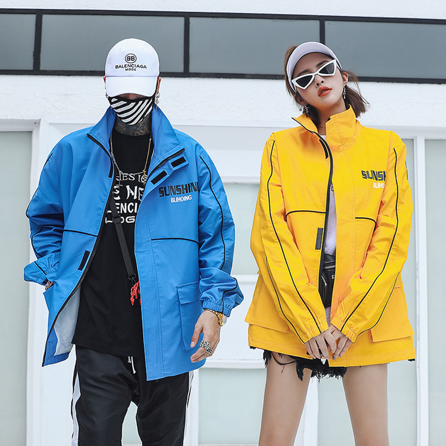 Anoraks Mens Windbreaker Jackets Track Streetwear Hip Hop Jacket Men Swag Blue Yellow Outerwear Unisex Coat Hight Street Loose
