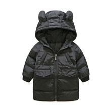 BibICola 2017 New Cartoon Ear Baby Boys Girls Jacket Kids Winter Warm Cotton Hoodies Coat Children Casual Outerwear Clothing(China)