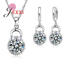 Lovely Girl Best Gifts Silver Chain Jewelry Sets Bridal 925 Sterling Silver Purse Shape Pendant Necklace Earrings Collier