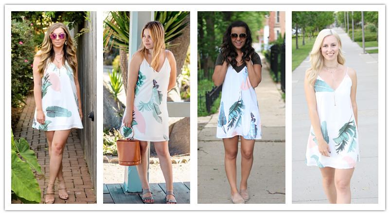 Sheinside White Cami Summer Dress Women Palm Leaf Print Double V Neck Casual Shift Dresses 17 Fashion Sexy Sleeveless Dress 6