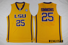 WINGISAM Ben Simmons #25 LSU Retro Throwback All Stitched Purple Yellow White Basketball Jersey Embroidery Logos Drop Shipping