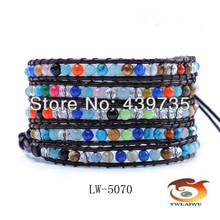 news semi-precious mixed stone multi wraps brown leather bracelets The rainbow colors Wholesale and retail LW-5070(China)