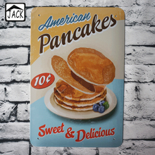 sweet&delicious pancakes advertising metal poster tin signs 20X30CM iron plate wall decor tin plaque cafe club home kitchen bar(China)