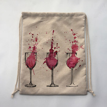 1Pcs WINE Print Custom Vintage Outdoor Beach Gym Swimming Clothing Shoes Storage Bag Drawstring Backpack
