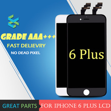 5PCS 100% Top for iPhone 6 plus LCD Display Good Touch Screen Digitizer Assembly Cold Frame White Black Free DHL shipping