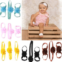 2017 Baby Girl flower Headwrap set european Elastic Floppy belt shoe with Headband for Newborn Baby 7 colors CX674138