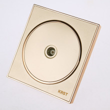 Wall Switch Socket, 86-Type High-End Home Furnishing Round Extreme Gold Piano Paint, TV Socket Panel, 10A PC110-250V