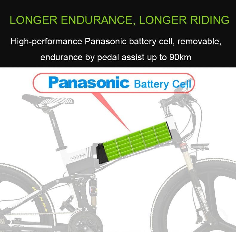 XT750 Sport, 27 Speed Folding Electric Bike, 26″, 48V/10A, 240W, Oil Disc Brake, 5 Grade Assist Mode, Powerful Battery