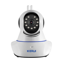KERUI Wireless WiFi HD IP Camera WiFi GSM Home Intruder Burglar Alarm System Security 720P 3.6mm len GSM Surveillance Device
