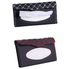 Car Sun Visor Tissue Box PU Leather Paper Holder Hanging Pumping Napkin Container Case Clip Auto Interior Decoration Accessories