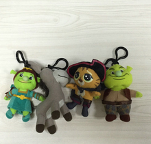 "NEW from Shrek and Friends Shrek Cat Fiona Donkey SET OF 4 Plush Clip ON Keyclip 8"" 3 1/2"" TOY Stuffed plush doll(China)"