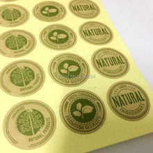"480pcs/lot,""100% Organic"" Kraft rounded sealing sticker baking decoration honey bottle sticker(China)"