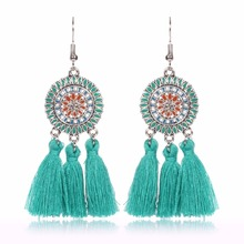2017 Summer New Style Vintage Oil Color Fringed Feathers Long Earring For Women Fashion Jewelry India Bohemian Ear rings Earing(China)