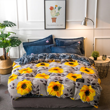 Svetanya Flannel Fleece Fabric sunflowers Queen Double King size Winter warm Bedding Sets (Sheet Pillowcases Duvet cover)(China)