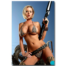 NICOLESHENTING Hot Sexy Model Ass Girl with Gun Art Silk Poster 13x20 24x36inch Military Pictures for Home Wall Decor 002(China)