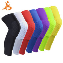 YD New 1 pc Logo Custom Honeycomb Padded Knee Brace Sports Safety Basketball Kneepad Compression Knee Sleeve Protector Knee Pads(China)