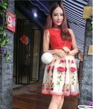 2016 New Women's fashion red organza dresses girls casual summer Korean slim floral dress elegant lady ball gowns size S M #H969
