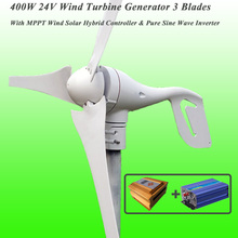 Great Discount 3 Blades 400W 24V Wind Turbine Generator With MPPT Wind Solar Hybrid Controller & 1KW Pure Sine Wave Inverter