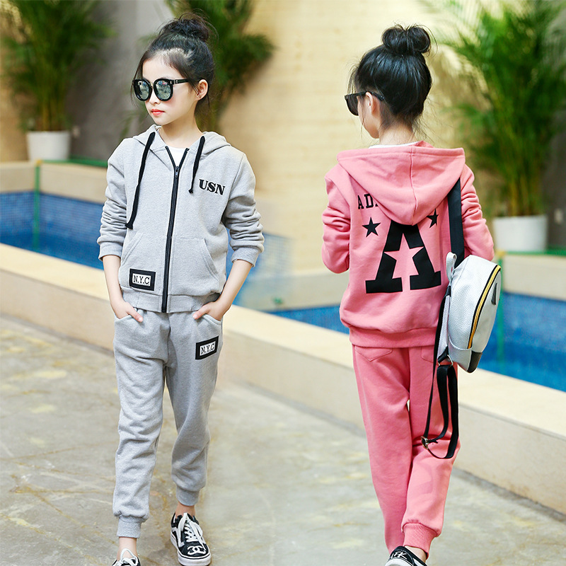 Girls letter printing two sets of students sportswear 2017 autumn new children clothing set 5 6 7 8 9 10 11 12 year old Cardigan<br>