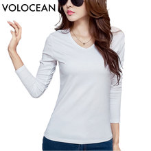2017 VOLOCEAN NEW Autumn Winter Cotton T-shirts For Women 13 Color Women T Shirt Casual Female Plus Size HOT Tops Tee(China)