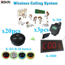 Restaurant Wireless Pager System  lower price made in China strong signal (1 display receiver+ 2 watch +20 table bell button)
