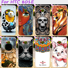 Hard Plastic and Soft TPU Phone Cover For HTC ONE M7 801E Single Sim 801 4.7inch Cases Cool Skull Cute Minions Flower Protective