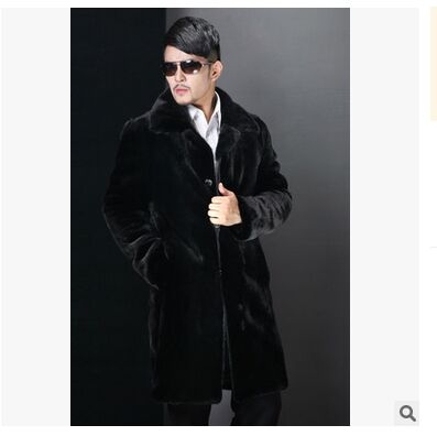 Free Shipping Mens Winter Long Mink Fur Jacket Black Casual Faux Fur High Quality Fur Coats Male Warm Large Size Overcoats  J464