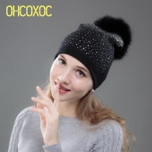 OHCOXOC New Women Beanies Real Fox Fur Real Mink Fur Pom Ball Cap Keep Warm Beanies Skullies Shiny Rhinestone Autumn Winter Hat(China)
