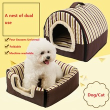 Hot Creative Dog House Kennel Nest With Mat Foldable Pet Dog/Cat Bed House For Small Medium Dogs Travel Pet Bed Mat Cushion(China)